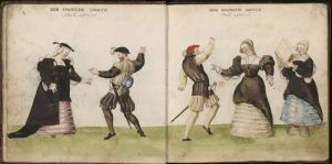 Miniature of 'The Spanish Dance'; from Códice de trajes, Germany, 1547.