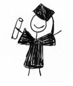 Stick figure with diploma in graduation attire