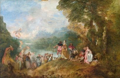Painting, L'Embarquement pour Cythere by Jean-Antoine Watteau, couples in 18th century garb in an idyllic landscape with a body of water and cherubim in the background